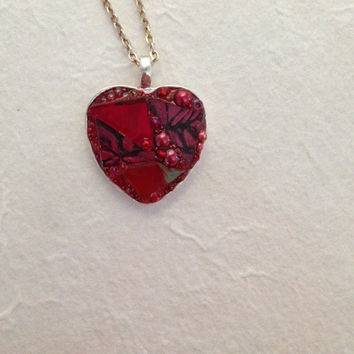Mosaic pendant heart necklace  red stained glass, crimson Van Gogh tile, scarlet mirror stained glass and ruby red glass pearl beads