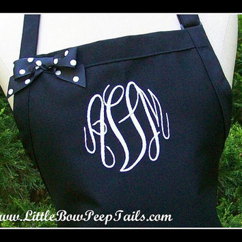 XL Extra Large Size Gourmet Monogrammed Apron - Personalized Chefs Gift Idea Polka Dotted Ribbon Bakers Cooking Womens Sous Restaurant