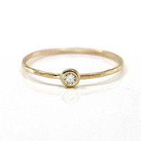 Champagne Diamond Stacking Ring in 14k Yellow Gold