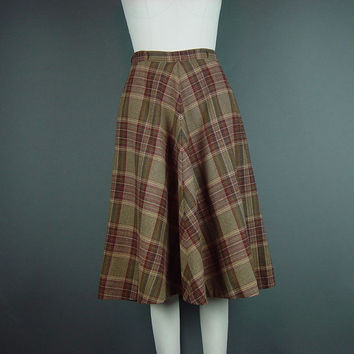 "50s Full Skirt Vintage Late 50s Early 60s Plaid Browns Fit Flare John Meyer W 26"" XS S XSmall Small"