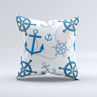 Nautical Anchor Collage Ink-Fuzed Decorative Throw Pillow