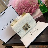072 Gucci Padlock Classic Fashion Chain Crossbody Pouch Flap Baguette Bag 20-7-13cm