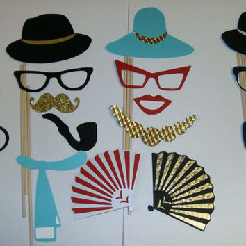 Roaring 20's sparkle Photobooth Props Great Gatsby, Mustaches,Hats,Fans,Lips 35 piece DIY (2045D)