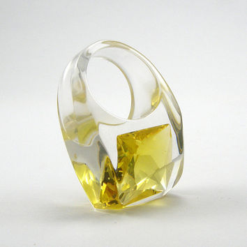 Yellow Cubic Zirconia Ring, Clear Resin Ring with a Large Square Shaped Citron Zirconia