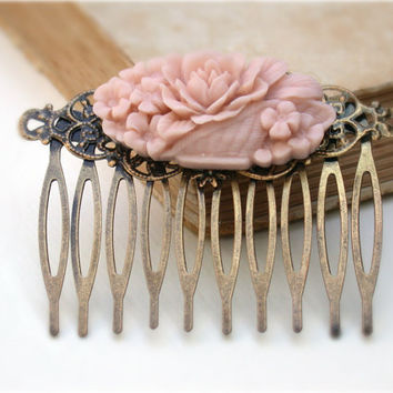 Pink Blush Hair Comb -Vintage Style Blush Flower Basket Hair Comb Vintage Style  Wedding Bridal Jewelry Bridesmaid Gifts Flower Girls