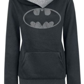 Black Batman Logo Print Long Sleeve Hoodie Sweater With Pocket