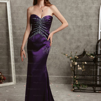 Trumpet/Mermaid Sweetheart Beading Satin Floor-length Party Dress at Millybridal.com