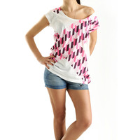 New Arrival! Off the shoulder Pink Geometric Women t-shirt summer fashion, one side printed