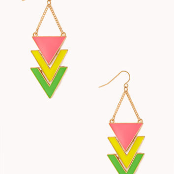 FOREVER 21 Striking Chevron Dangle Earrings Gold/Neon Pink One