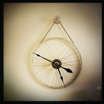 Bicycle Wheel Clock, Large Wall Clock, Cycling Gift For Men, Steampunk Wall Clock, Bike Wheel Clock, Cyclist Gift, Cycling Decor, Gear Clock