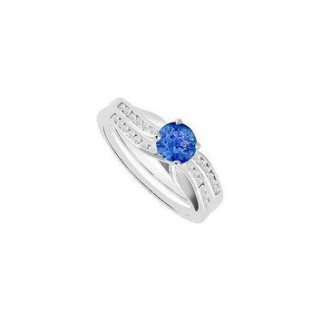 Sapphire & Diamond Engagement Ring with Wedding Band Sets 14K White Gold  1.00 CT TGW