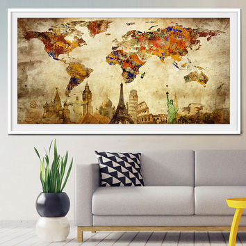 Travel map, world travel map, travel map push pin, push pin travel map, travel poster, vintage travel poster, art poster  (L20)