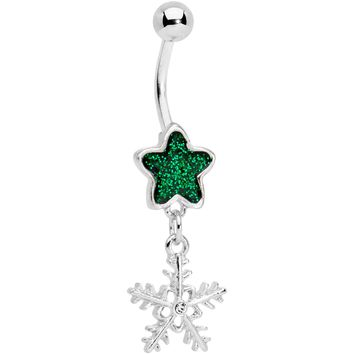 Green Gem Star and Snowflake Dangle Belly Ring