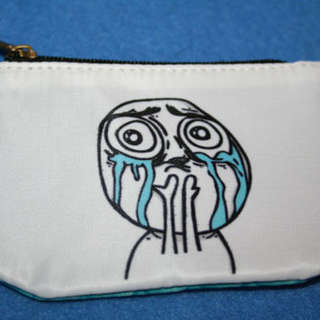 Zippered Coin Purse Rage Face Cuteness Overload by Valiantstudios
