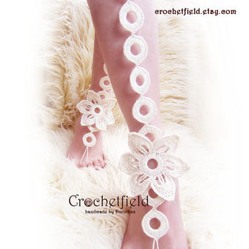 EXOTIC flower crochet RINGS barefoot sandals, knee high, gladiator boots, long, lace, beach, pool, leggings, wedding