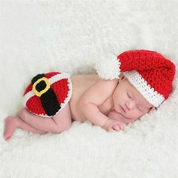 Baby Christmas Hat Suit Newborn Photography Props Infant Wool Knitting Clothing Set Baby X-mas Costume