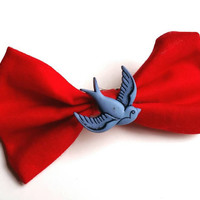 Swallow Red and Blue Hair Bow