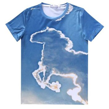 Unicorn Cloud Sky All Over Graphic Print T-Shirt | Gifts for Animal Lovers