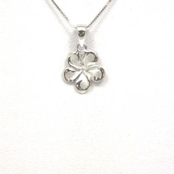 11MM SOLID 14K WHITE GOLD HAWAIIAN FANCY PLUMERIA FLOWER CHARM PENDANT