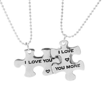 I Love You/I Love You More Couples Necklaces Set,Personalized Couples Jewelry,Perfect Gift for Boyfriend Girlfriend