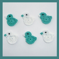 6 small crochet birds, appliques and embellishments
