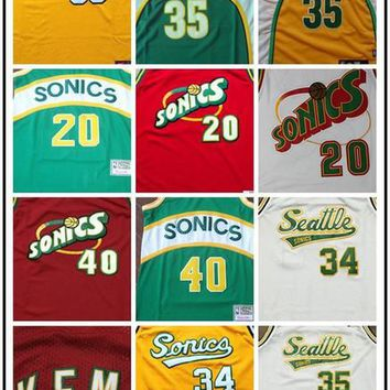 Retro #20 Gary Payton Stitched Jersey Seattle Throwback Cheap 40 Shaw Kemp Basketabll Jerseys 34 Ray Allen men jerseys 35 KD sonics jerseys