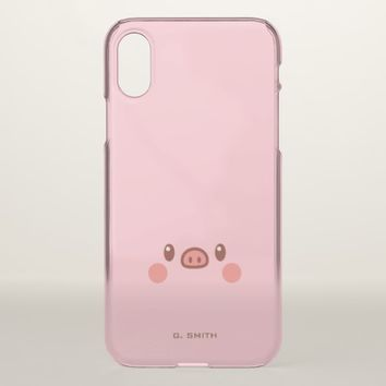 Monogram. Kawaii Cute Smiley Emoji Piggy. iPhone X Case