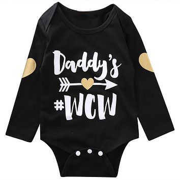Autumn Toddler Baby Boys Girls Daddy Printed Romper  New Arrival Fashion Long Sleeve Jumpsuit Kids Halloween Clothes Outfits