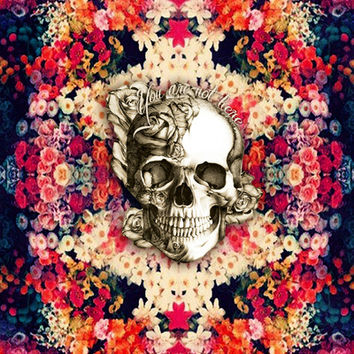 You are not here Day of the Dead Rose Skull. Stretched Canvas by Kristy Patterson Design