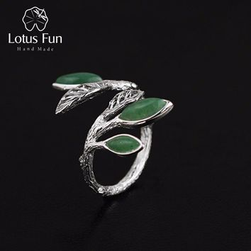 Lotus Fun Real 925 Sterling Silver Natural Stone Creative Handmade Designer Fine Jewelry Spring in the Air Leaves Female Rings