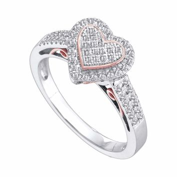 10kt Two-tone White Rose Gold Womens Round Diamond Heart Ring 1/3 Cttw