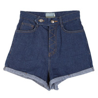 Zigzag Stitched High-waist Shorts