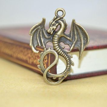 DCCKF4S 10Pcs Zinc Alloy Charms Antique Bronze Plated dragon Charms Pendants Metal Jewelry Findings Fit DIY 35*27mm 1419