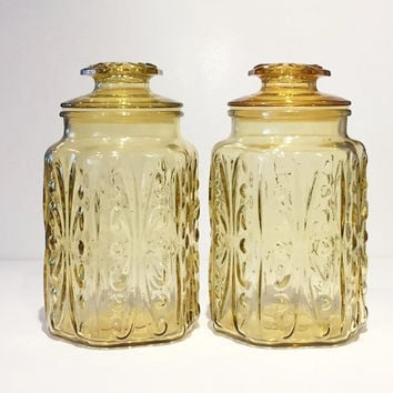 Vintage Amber Imperial Glass Atterbury Scroll Canister, Set of 2 Amber Glass Kitchen Canisters, Amber Glass Cookie Jars, Amber Canisters