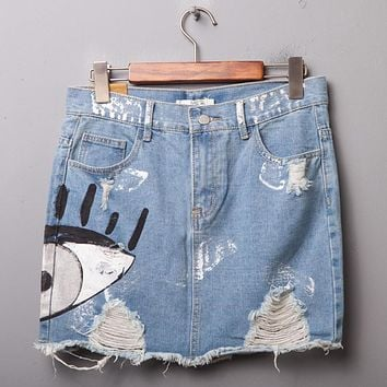 Summer Hot Clothes Women Chic Skirts Pocket Hole Mini Denim Skirt Hand Painted Eye Style Vintage Ladies Casual Denim Skirt