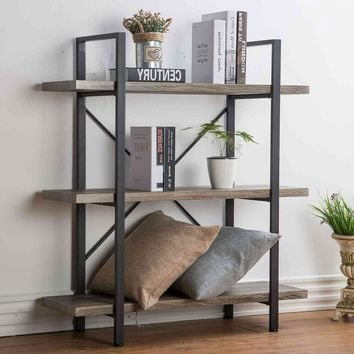 3x3 Ft Rustic Wood and Metal Bookcase With Open Shelves
