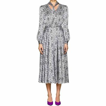 CO Floral Striped Silk Charmeuse Dress