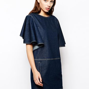See by Chloe Denim Dress with Cape Sleeve Detail