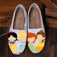 Custom Hand Painted Toms Princess women or children Any Princess