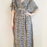 80s Caftan Leopard Print Dress House Dress Flowy Nightgown Vintage 80s House Dress Vintage Caftan Size Large Extra Large