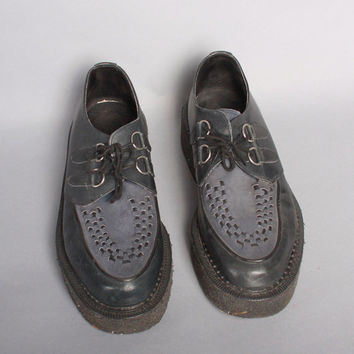 MEN'S John FLUEVOG 2-Tone CREEPERS / Black & Blue Leather Crepe Sole Oxfords 11