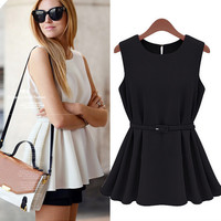 Peplum Top with Belt