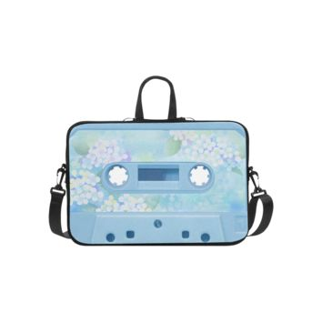 Personalized Laptop Shoulder Bag Retro Vintage Soft Blue Cassette Tape Macbook Pro 15 Inch
