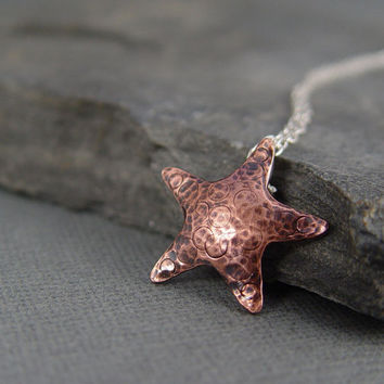 Copper starfish Pendant Ocean Jewelry Beach Jewelry by HapaGirls
