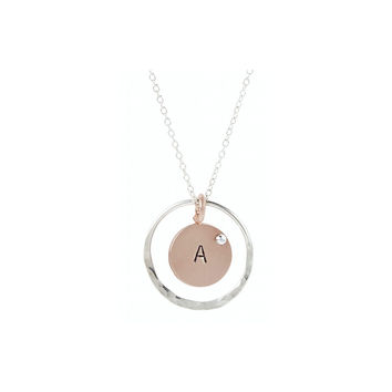 Double Circle Initial Necklace .925
