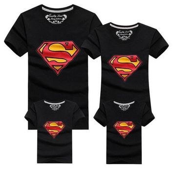 LMFUNT 2016 Family Look Superman T Shirts  Family Matching Clothes Father & Mother & Kids Cartoon Outfits