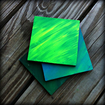 Hand painted Wooden Coasters, Blue, Turquoise, Green, Yellow Blends