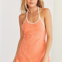 BDG Tara Terry Peach Halter Mini Dress | Urban Outfitters