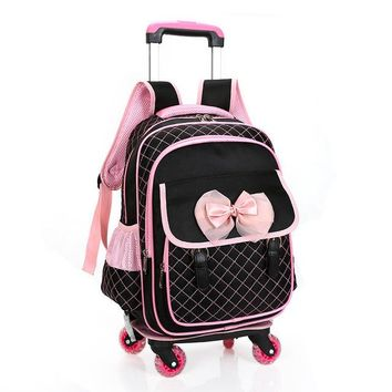 School Backpack Fashion children cute cartoon school bags for girls travel trolley bag detachable backpacks wheeled bag  AT_48_3