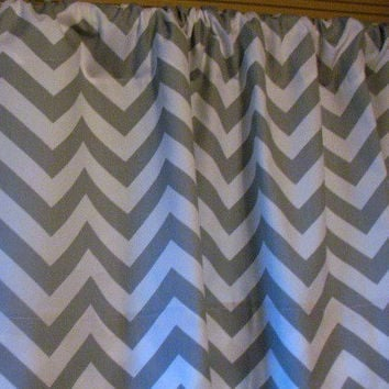 HOLIDAY SALE Two Curtain Panels 50 x 84 Grey Chevron Zigzag